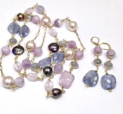 mystic blue sapphire, black round peacock, lavender quartz stone necklace.jpg